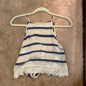 Navy and white striped halter top